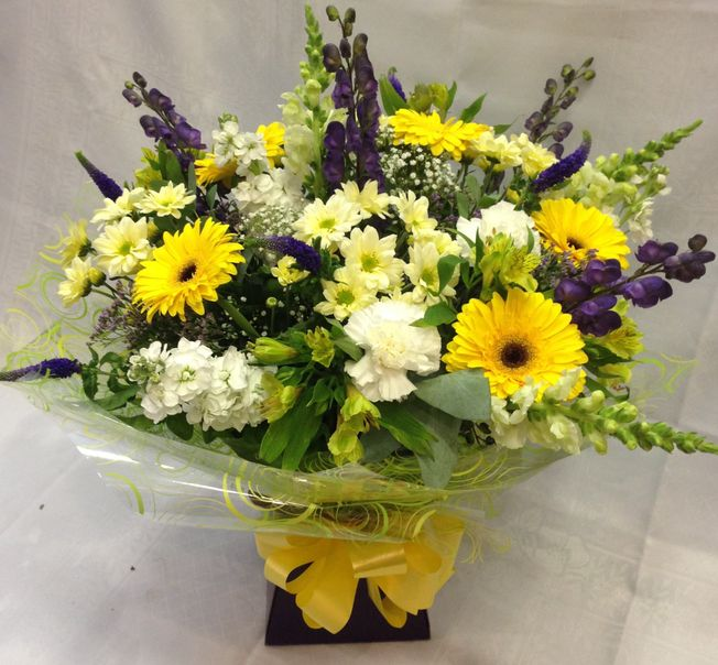 Yellow hand tied bouquet