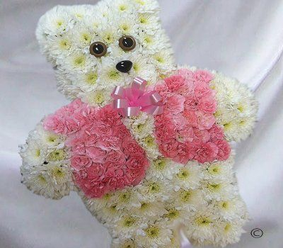 Pink teddy bear funeral tribute