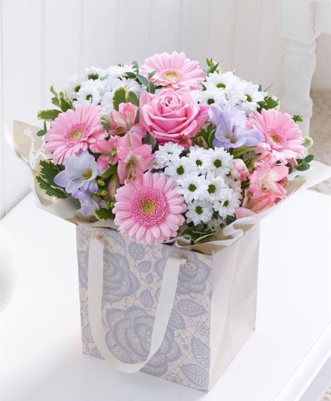 Mothers day Hand tied bouquet in a gift bag