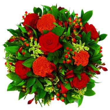 Red posy arrangement