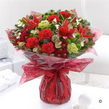 Red hand tied bouquet