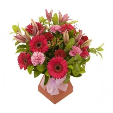 Valentines Red & pink hand tied bouquet aqua pack