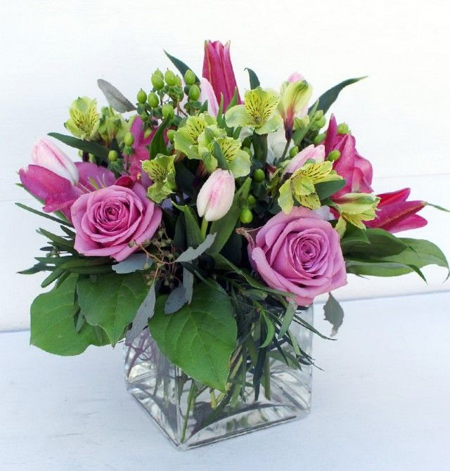 Mothers day arrangement in glass cube