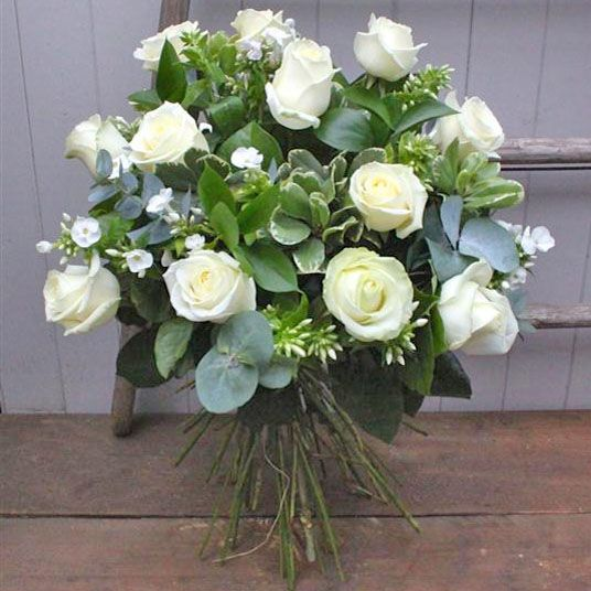 Dozen white rose bouquet